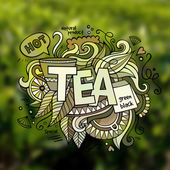 Tea hand lettering and doodles elements illustration — Stock Vector