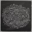 Fast food hand lettering and doodles elements chalkboard back — Stock Vector #52735543