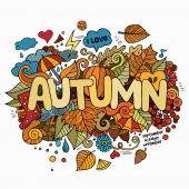 Autumn hand lettering and doodles elements background. — Stock Vector