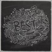 En iyi yazı ve karalamalar öğeleri kara tahta geri ver — Stok Vektör