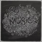 Music hand lettering and doodles elements chalkboard back — Stock Vector