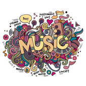 Music hand lettering and doodles elements background. — Stock Vector