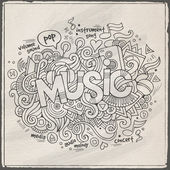Music hand lettering and doodles elements background — Stock Vector