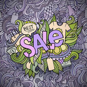 Sale hand lettering and doodles elements background — Stock Vector