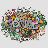 Social hand lettering and doodles elements background — Stock Vector