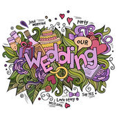 Wedding hand lettering and doodles elements background — Stock Vector