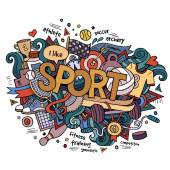 Sport hand lettering and doodles elements background. — Stock Vector