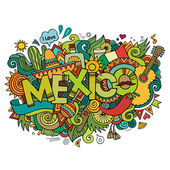 Mexico hand lettering and doodles elements background — Stock Vector
