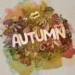 Autumn hand lettering and doodles elements background — Stock Vector #53458401
