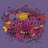 Birthday hand lettering and doodles elements background — Stock Vector