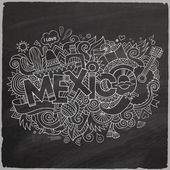 Mexico doodles elements chalkboard background — Stock Vector