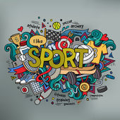 Sport hand lettering and doodles elements background — Stock Vector