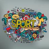 Sport hand lettering and doodles elements background — ストックベクタ