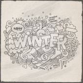 Winter hand lettering and doodles elements background — Stock Vector