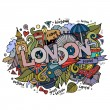 London hand lettering and doodles elements background. — Stock Vector #54882557