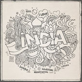 India hand lettering and doodles elements background — Stock Vector