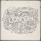London hand lettering and doodles elements background — Stock Vector