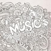 Fondo de elementos de música mano letras y garabatos. — Vector de stock