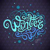 Winter hand lettering — Stock Vector