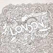 London hand lettering and doodles elements background. — Stock Vector #59260325