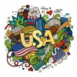 USA hand lettering and doodles elements background — Stock Vector #59515783