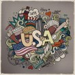 USA hand lettering and doodles elements background — Stock Vector #59515809