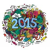 2015 year hand lettering and doodles elements background. — Stock Vector
