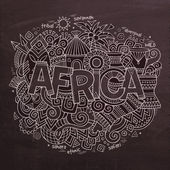 Africa Vector hand lettering and doodles elements — Stock Vector