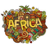 Africa hand lettering and doodles elements background — Stock Vector