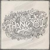 Dank u hand belettering en doodles elementen achtergrond — Stockvector