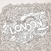 London   doodle   background. — Stock Vector