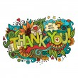 Thank You hand lettering and doodles elements background — Stock Vector #59530505