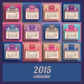 Flat calendar 2015 year design — Stock Vector