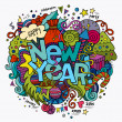 New year hand lettering and doodles elements background — Stock Vector #59688055