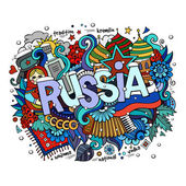 Winter Russia hand lettering and doodles elements background — Stock Vector