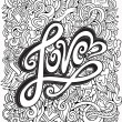 Love hand lettering and doodles elements background — Stock Vector #60142945