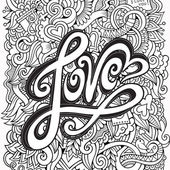 Love hand lettering and doodles elements background — Stok Vektör
