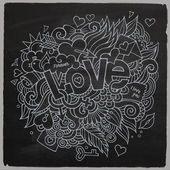 Love hand lettering and doodles elements sketch — Stock Vector
