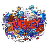 Turkey hand lettering and doodles elements background. — 图库矢量图片