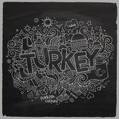Turkey chalkboard background — Stock Vector