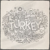 Turkey hand lettering and doodles elements background. — Stock Vector
