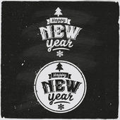 Happy New Year Set Of Typographic Design — Διανυσματικό Αρχείο