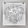 Vector template poster with Love hand lettering and doodles elem — Stock Vector #60819845