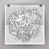 Vector template poster with Love hand lettering and doodles elem — Stock Vector