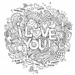 I Love You hand lettering and doodles elements — Stock Vector #62345389
