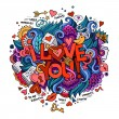 I Love You hand lettering and doodles elements — Stock Vector #62345391