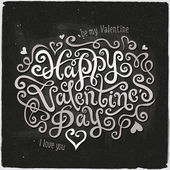 Happy Valentines Day hand lettering — Stock Vector