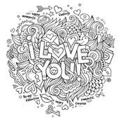 I Love You hand lettering and doodles elements — 图库矢量图片