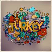 Turkey hand lettering and doodles elements background. Vector il — Stock Vector