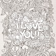 Love hand lettering and doodles elements background — Stock Vector #62971281